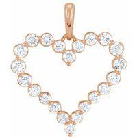 14K Rose 1 CTW Diamond Heart Pendant