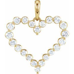 14K Yellow 1 CTW Diamond Heart Pendant
