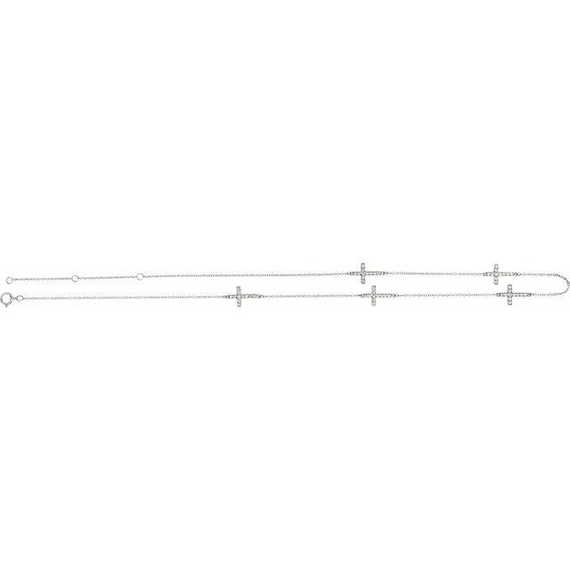 "14K White 1/8 CTW Diamond 5-Station Cross Adjustable 16-18"" Necklace"