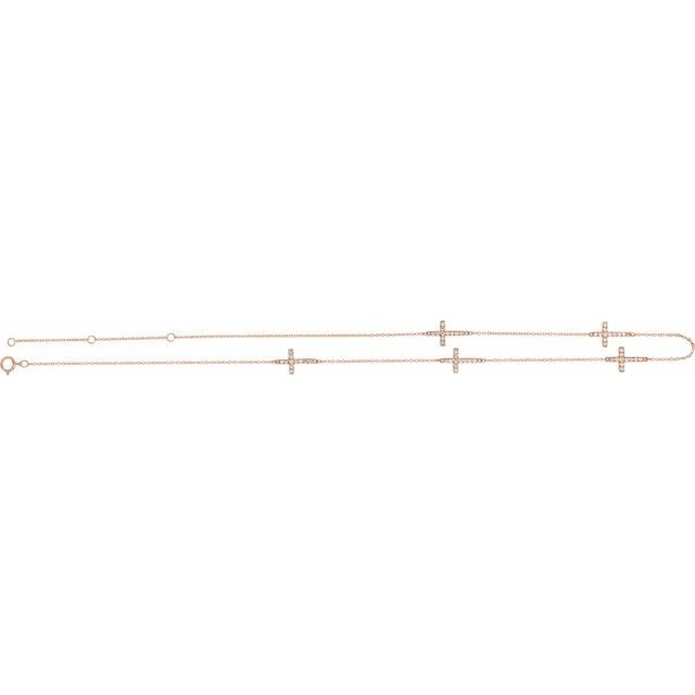 "14K Rose 1/8 CTW Diamond 5-Station Cross Adjustable 16-18"" Necklace"