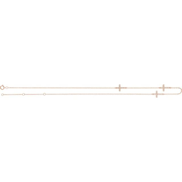 "14K Rose 1/4 CTW Diamond 3-Station Cross Adjustable 16-18"" Necklace"