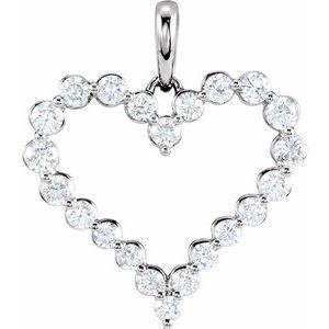 14K White 1 CTW Diamond Heart Pendant