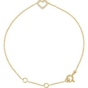 "14K Yellow .06 CTW Diamond Heart 7"" Bracelet"