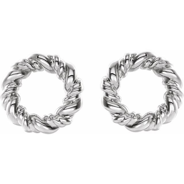 Sterling Silver 9.4 mm Circle Rope Earrings