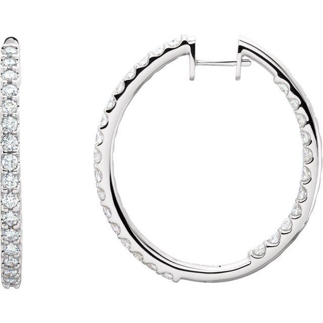 14K White 3 CTW Diamond Inside-Outside Hinged 35.3 mm Hoop Earrings