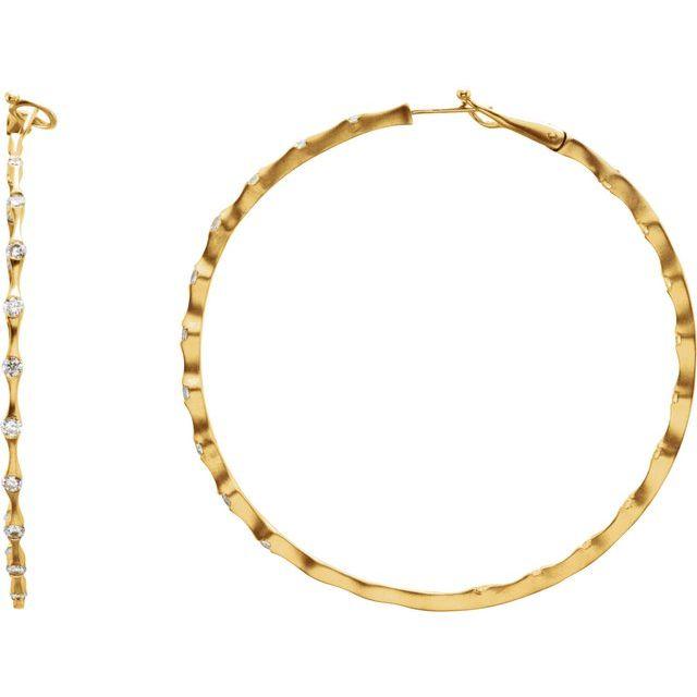 14K Yellow 1/2 CTW Diamond Inside-Outside 31 mm Hoop Earrings