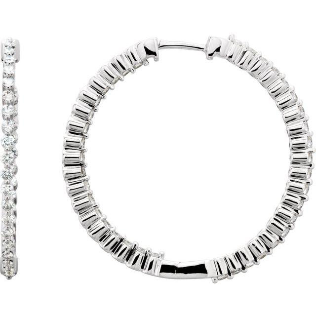 14K White 1 CTW Diamond Inside-Outside Hinged 32.5 mm Hoop Earrings