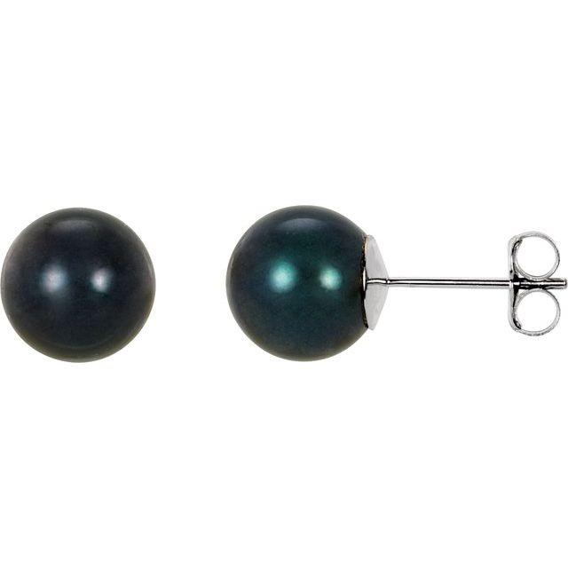 14K White 8 mm Black Akoya Cultured Pearl Earrings