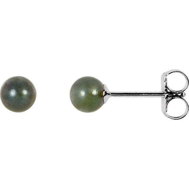 14K White 4 mm Black Akoya Cultured Pearl Earrings