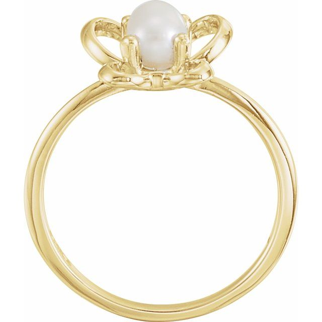 14K Yellow 4x3 mm Pearl June Youth Butterfly Birthstone Ring