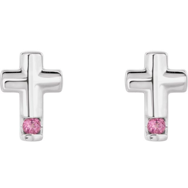 14K White Pink Tourmaline Cross Earrings