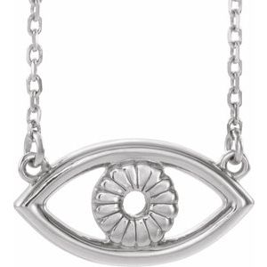 "14K White Evil Eye 18"" Necklace"