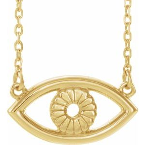 "14K Yellow Evil Eye 16"" Necklace"
