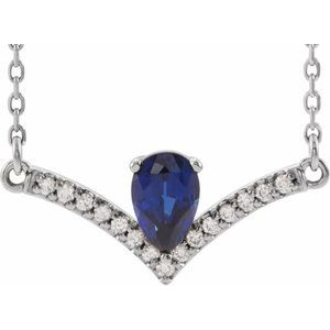 "14K White Blue Sapphire & .06 CTW Diamond 16"" Necklace"