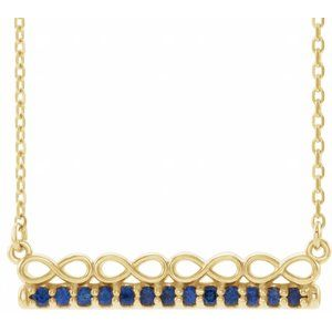 "14K Yellow Blue Sapphire Infinity-Inspired Bar 18"" Necklace"
