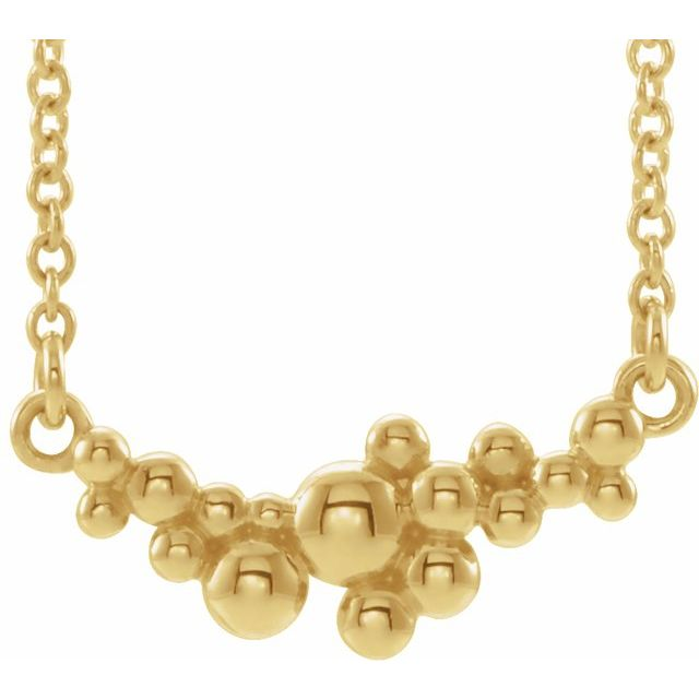 """14K Yellow Scattered Bead 18"""" Necklace"""