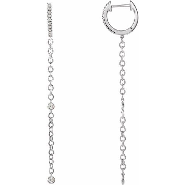 14K White 1/4 CTW Diamond Hinged Hoop Chain Earrings