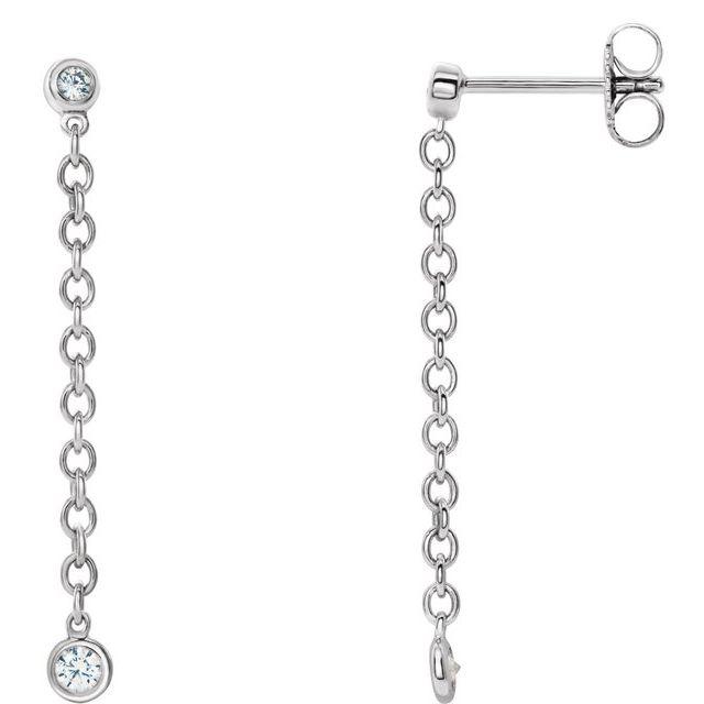 14K White 1/5 CTW Diamond Bezel Set Chain Earrings