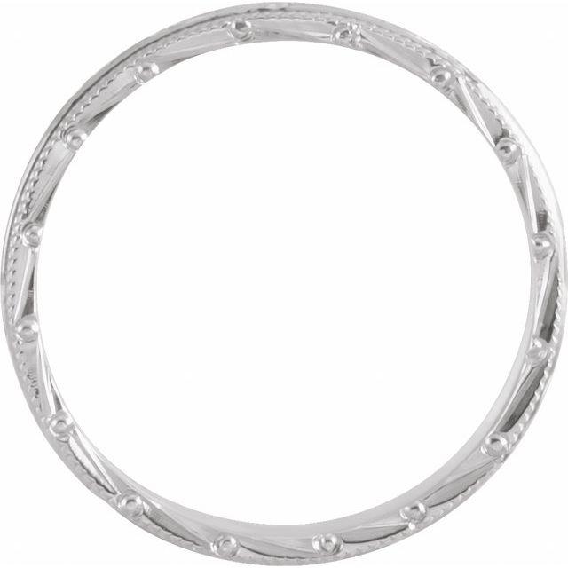 14K White 3 mm Design-Engraved Milgrain Band Size 7
