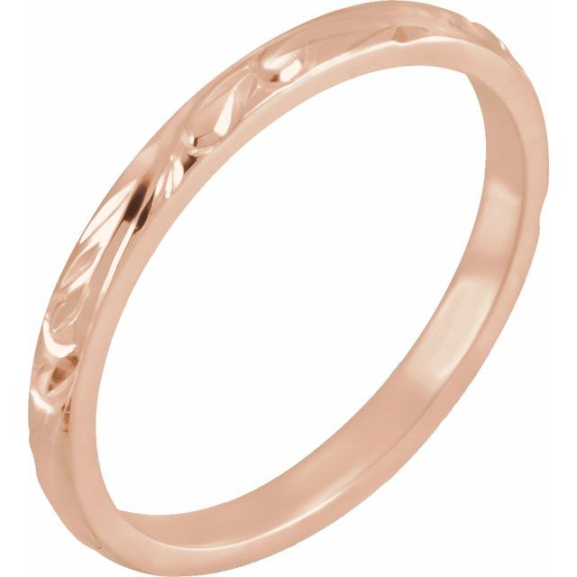 14K Rose 2 mm Design-Engraved Band Size 5