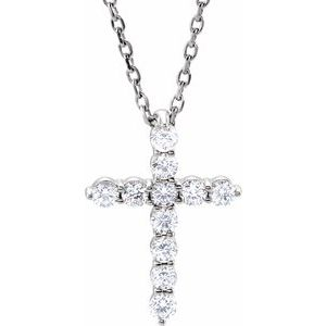 "14K White 14.6x10.5 mm 1/4 CTW Diamond Cross 16-18"" Necklace"