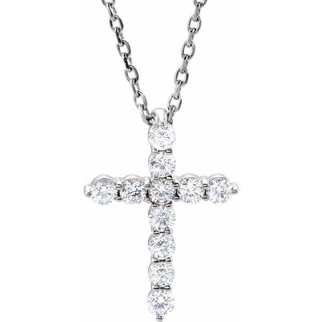 14K White 14.6x10.5 mm 1/4 CTW Diamond Cross 16-18