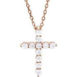 "14K Rose 14.6x10.5 mm 1/4 CTW Diamond Cross 16-18"" Necklace"