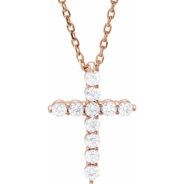 14K Rose 14.6x10.5 mm 1/4 CTW Diamond Cross 16-18