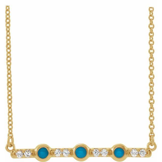 14K Yellow Turquoise & 1/8 CTW Diamond Bar 18