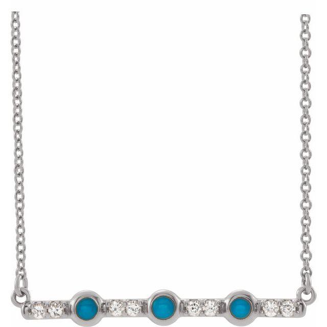 14K White Turquoise & 1/8 CTW Diamond Bar 18