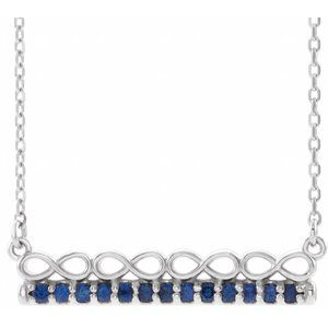"14K White Blue Sapphire Infinity-Inspired Bar 18"" Necklace"