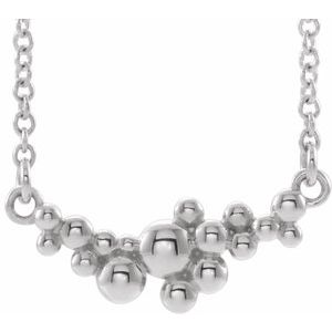 """14K White Scattered Bead 16"""" Necklace"""
