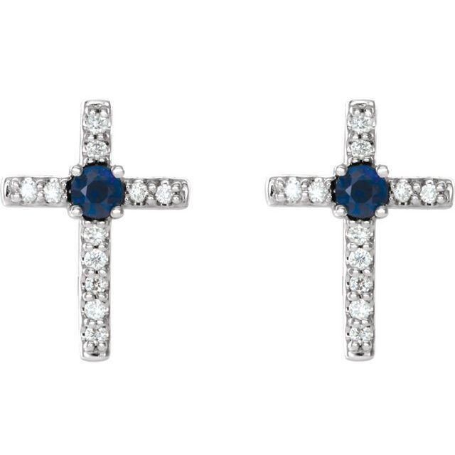 14K White Chatham® Created Blue Sapphire & .06 CTW Diamond Cross Earrings