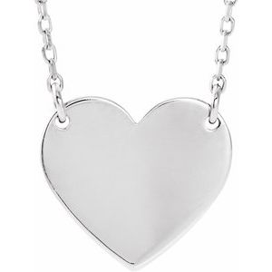 "Sterling Silver 18x16.4 mm Heart 16-18"" Necklace"