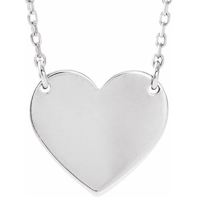 14K White Engravable 12x11 mm  Heart 16-18