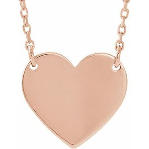 "14K Rose 18x16.4 mm Heart 16-18"" Necklace"