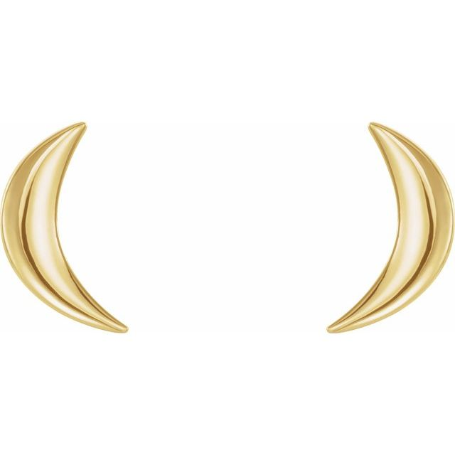 14K Yellow Crescent Moon Earrings