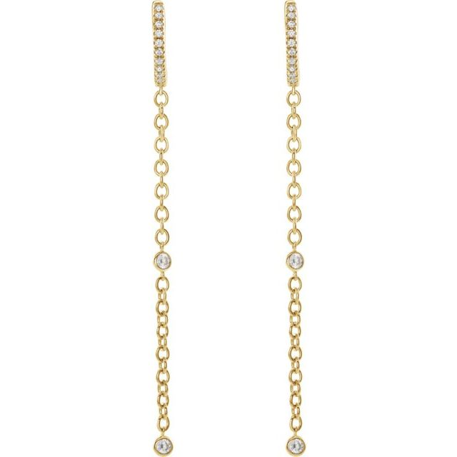14K Yellow 1/4 CTW Diamond Hinged Hoop Chain Earrings
