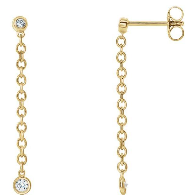 14K Yellow 1/5 CTW Diamond Bezel Set Chain Earrings
