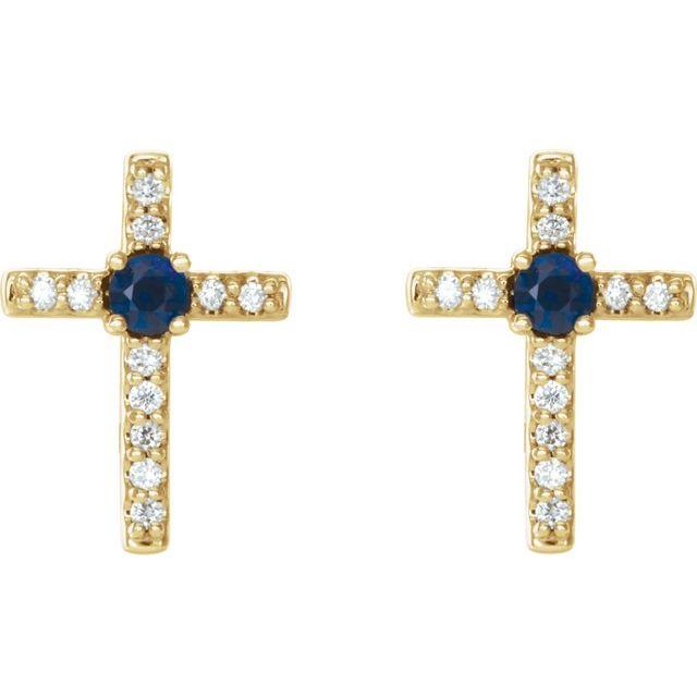 14K Yellow Blue Sapphire & .05 CTW Diamond Cross Earrings