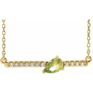 "14K Yellow Peridot & 1/10 CTW Diamond 16"" Necklace"