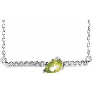 "14K White Peridot & 1/10 CTW Diamond16""  Necklace"