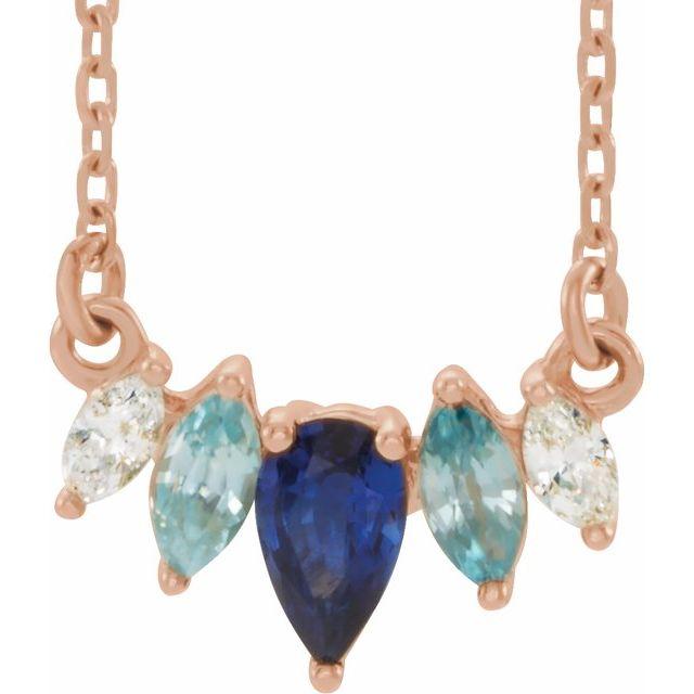 "14K Rose Multi-Gemstone & .07 CTW Diamond Curved Bar 16"" Necklace"