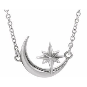 "Platinum Crescent Moon & Star 16-18"" Necklace"