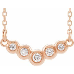 "14K Rose  1/8 CTW Diamond 18"" Necklace"