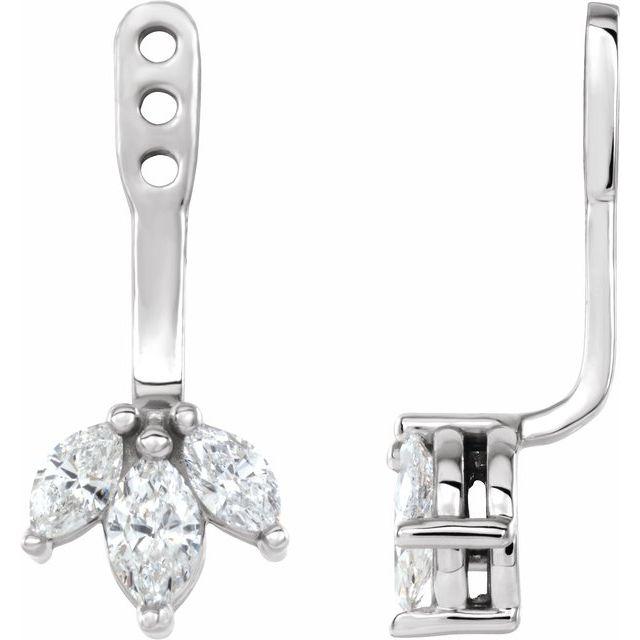 14K White 1/4 CTW Diamond Cluster Front-Back Earring Jackets