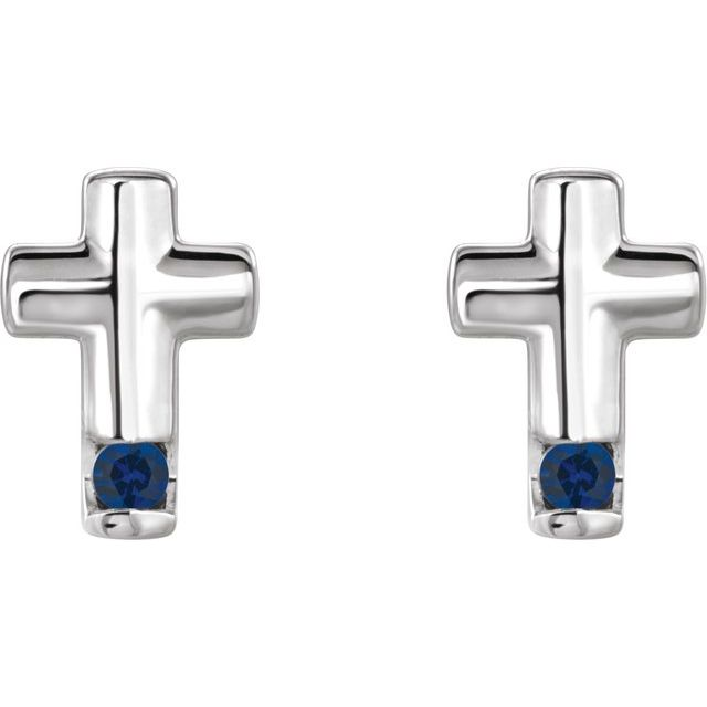 Sterling Silver Blue Sapphire Cross Earrings