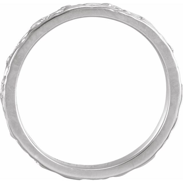 14K White 3 mm Floral-Inspired Band Size 7