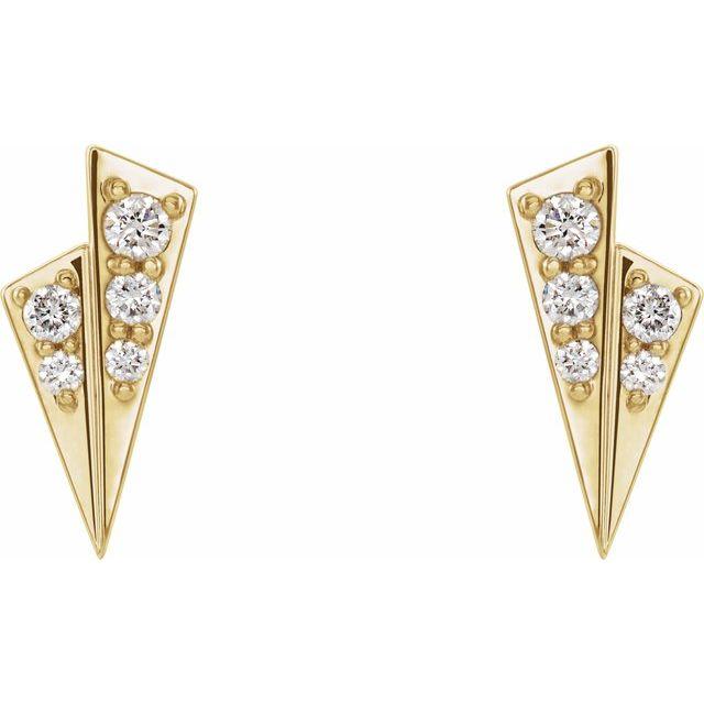 14K Yellow 1/6 CTW Diamond Geometric Earrings