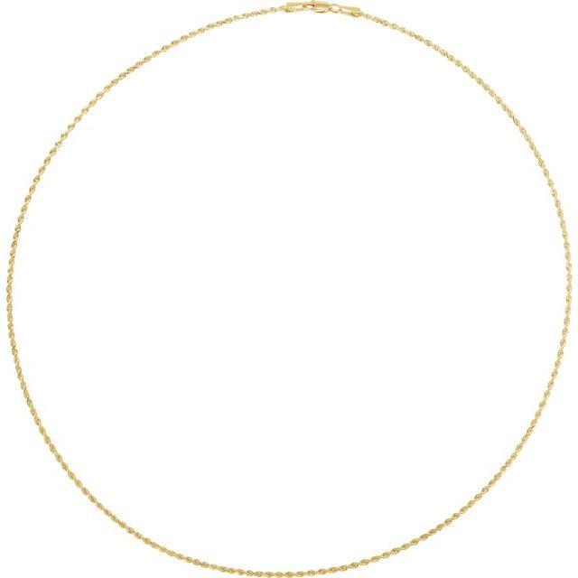 10K Yellow 1.5 mm Diamond Cut Rope 18